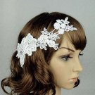 Bridal White topknot Headpiece Hair Flower Fascinator Crochet Bead clip BA167
