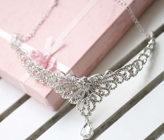 Bridal Rhinestone Crystal Prom Crown dangle Flower Hair tiara necklace HR205