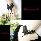 Gothic sexy Lolita butterfly dangle Black Victorian style Choker necklace NR389