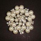 Bridal Faux Pearl Cake topper crystal Rhinestone pin brooch PI423