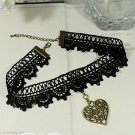 Gothic sexy Lolita Lace Heart ribbon Black Choker necklace NR279