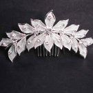 Bridal Rhinestone crystal flower leaves Hair Comb RB625