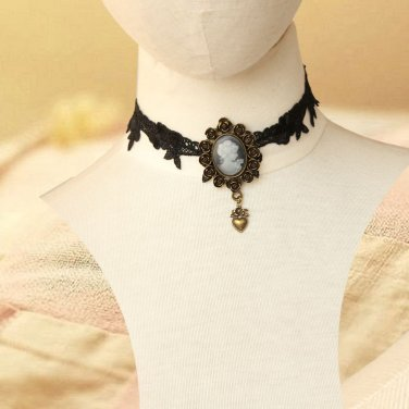 Gothic sexy Lolita Lace Black Bead Faux pearl Choker necklace NR381