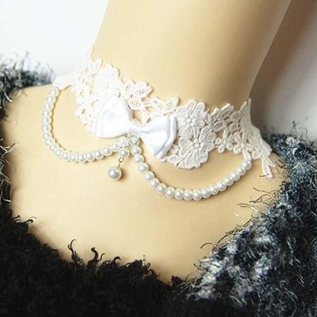 Gothic sexy Lolita Lace Bow Faux pearl Bead White Choker necklace NR388
