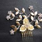 Bridal Crystal Rhinestone silver gold tone Flower Hair tiara Comb RB619