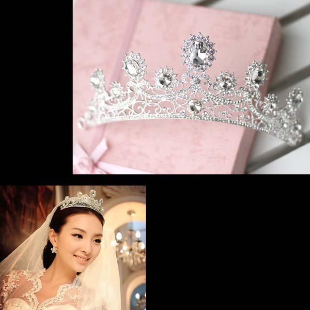 Bridal Rhinestone Crystal topknot crown Headdress Headpiece Hair tiara HR206