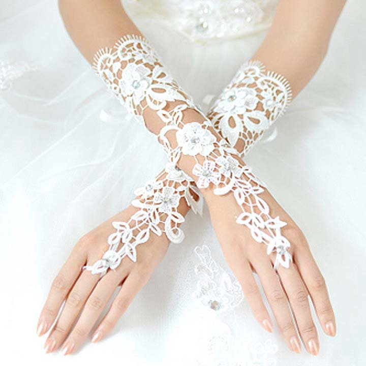 Bridal prom sexy Lace white flower Fingerless Gloves S37
