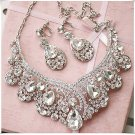 Bridal dangle flower Rhinestone Crystal Hair tiara necklace earring set NR427