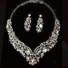 Bridal dangle elegant Rhinestone Crystal Hair tiara necklace earring set NR410