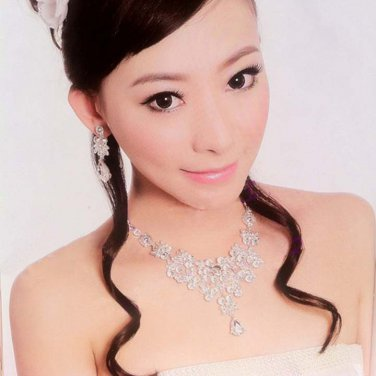 Bridal Rhinestone crystal dangle earring necklace set NR419
