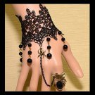 Sexy Belly dance Rhinestone flower Black Lace gothic slave Bracelet BR355