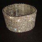 12 row Bridal Rhinestone Stretch Cuff Bracelet BR176