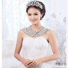 Bridal Gorgeous Prom bead crystal Rhinestone shoulder deco necklace HR244