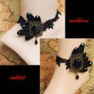 Bridal  sexy Lolita Lace  Faux pearl black Choker bracelet necklace anklet NR345