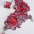 Sexy Belly dance Rhinestone flower Red Lace gothic slave Bracelet BR351