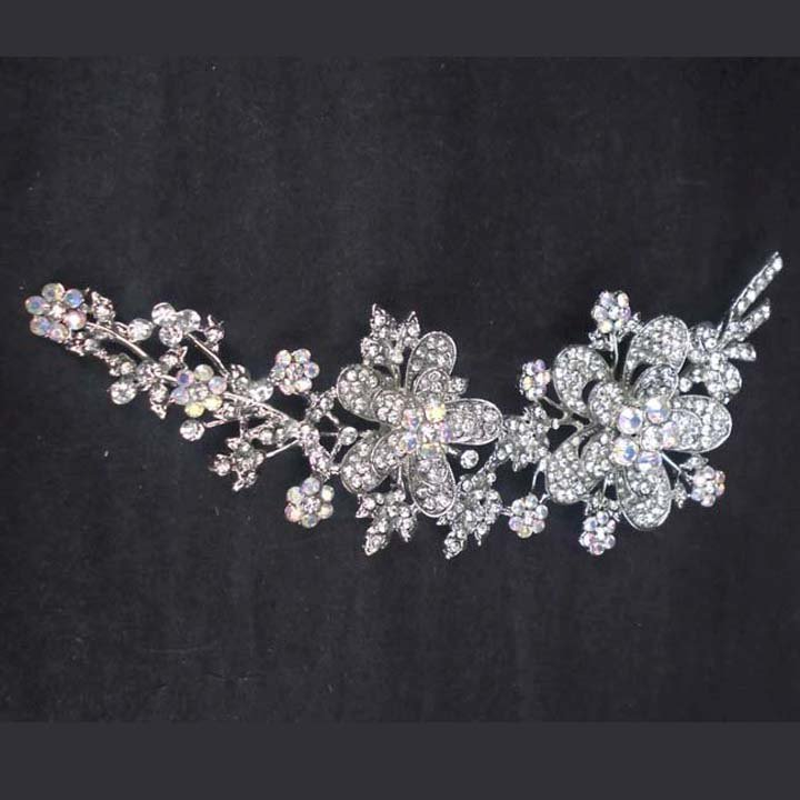 Bridal huge dress decoration crystal flower Rhinestone Brooch pin Pi597