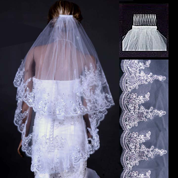 2T Bridal Flower Wedding White Ivory Veil lace edge with comb V13