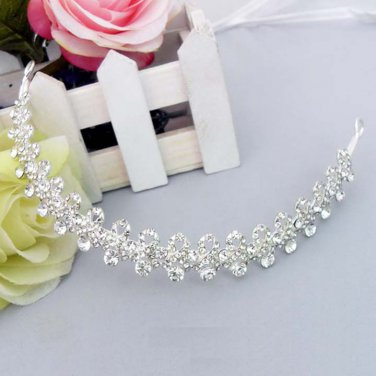 Bridal Rhinestone crown forehead band topknot headpiece Hair Tiara HR222