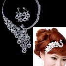 Bridal crystal Rhinestone peacock comb topknot Choker earring necklace set NR409