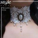 Gothic Lolita Lace ribbon white Faux pearl Flower Dangle Choker necklace NR415