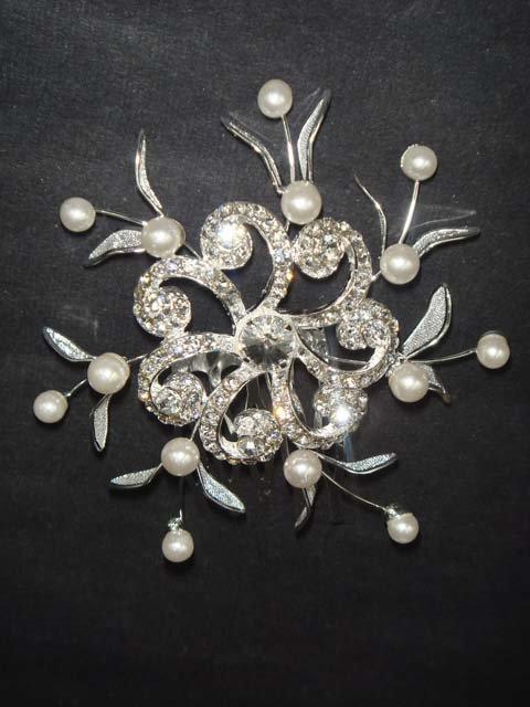 Bridal Rhinestone Faux pearl Headpiece Flower Crystal Hair tiara Comb RB630