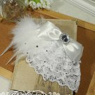 Bridal White Bow Feather Hair Melbourne Cup Fascinator Brooch clip BA165