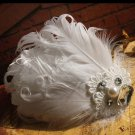 Bridal White feather Headpiece Hair flower Fascinator topknot clip BA180