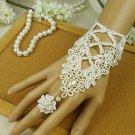 Sexy Belly dance Lolita Crochet flower white Lace gothic slave Bracelet BR325
