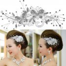 Bridal Rhinestone forehead band butterfly lace Hair tiara topknot HR216