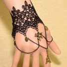 Sexy Belly dance Rhinestone Tower Bird Black Lace gothic slave Bracelet BR354