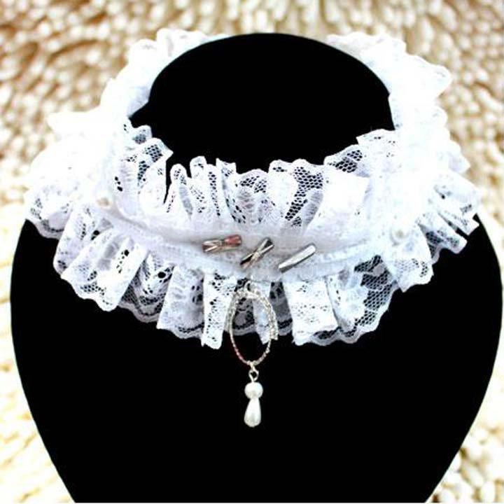 Bridal  sexy Lolita Lace  Faux pearl ribbon white Choker bracelet necklace NR333