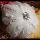 Bridal White feather Headpiece Hair faux pearl Fascinator topknot clip BA177