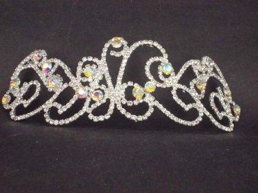 Bridal Rhinestone AB crystal Adjustable forehead band headpiece Hair Tiara HR176