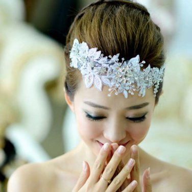 Bridal Rhinestone Adjustable forehead band Rose flower lace Hair tiara HR219