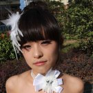 Bridal White feather Headpiece Hair flower Fascinator topknot clip BA182