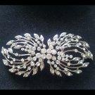 Bridal vintage style crystal sew bow Rhinestone brooch pin BU75