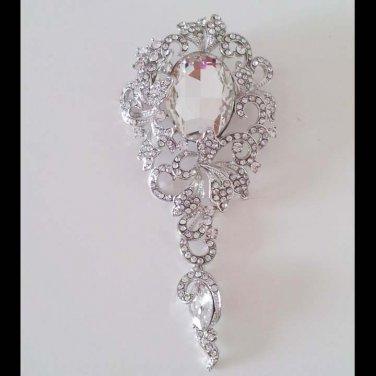 Bridal huge vintage style crystal dangle Rhinestone pendant brooch pin PI600
