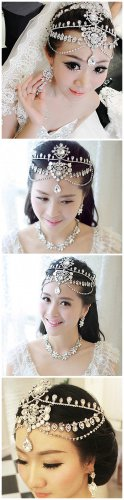 Bridal Rhinestone crystal dangle Topknot Maang tikka deco Headpiece HR248