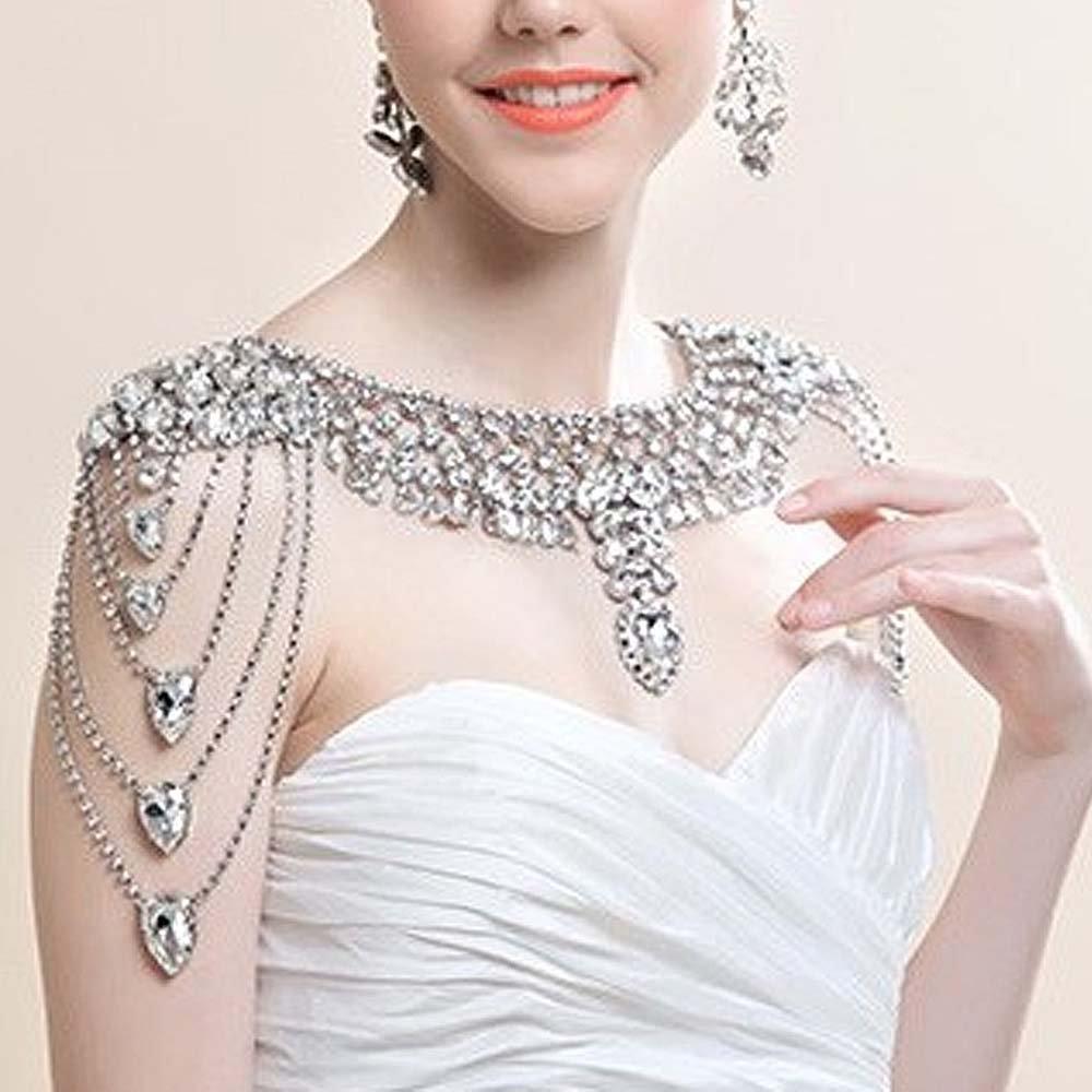 Bridal crystal Rhinestone shoulder deco bib Halter large necklace NR468