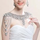 Bridal crystal Rhinestone shoulder deco bib Halter large necklace NR468