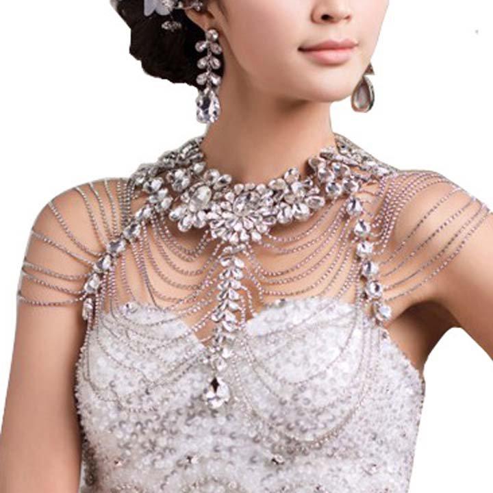 Bridal crystal Rhinestone shoulder deco Bra Strap Halter necklace HR240