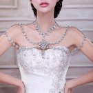 Bridal crystal Rhinestone huge shoulder deco bib Halter necklace NR466