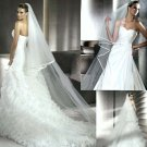 2 layer T2  Bridal Elegant Wedding Cathedral White Ivory Veil 2.5M with comb V14