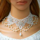 Lolita white rhinestone fashionable lace faux pearl necklace choker NR449