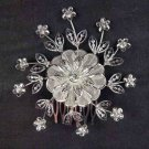 2 pcs Bridal Rhinestone Prom Headpiece Flower Crystal Hair tiara Comb RB583