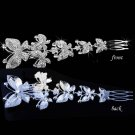 BRIDAL  PROM BUTTERFLY HEADDRESS CLEAR RHINESTONE HAIR TIARA COMB RB647