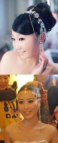 Bridal Rhinestone crystal dangle gold tone forehead Maang tikka tiara HR232G