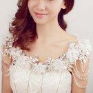 Bridal Collar lace Rhinestone flower shoulder decor bib necklace NR455