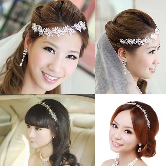Bridal Rhinestone Crystal adjustable forehead band Vines Halos Hair tiara HR182