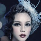 Bridal white dance bow veil feather Birdcage Fascinator net Hair clip HR318